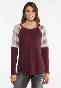 Plus Size Check Sleeve Raglan Top
