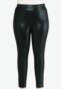 Plus Size Coated Snakeskin Leggings