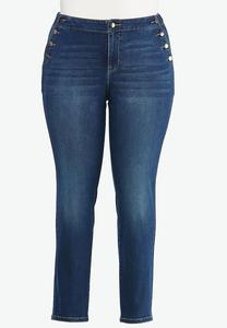 Plus Size High-Rise Button Skinny Jeans