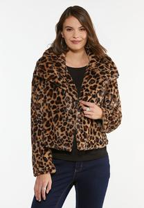Plus Size Leopard Faux Fur Jacket