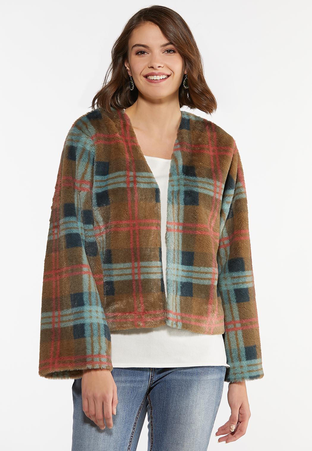 Plaid Faux Fur Jacket