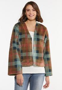 Plus Size Plaid Faux Fur Jacket