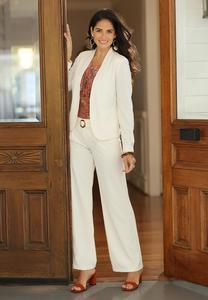 Plus Size Ivory Belted Pants