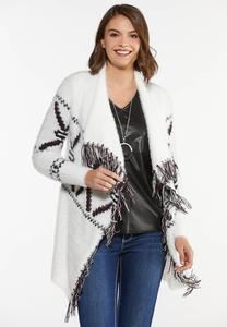 Plus Size Aztec Print Cardigan Sweater