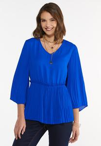 Plus Size Blue Pleated Babydoll Top