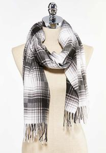 Black White Fleece Oblong Scarf