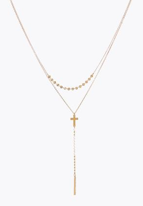 Delicate Layered Cross Necklace