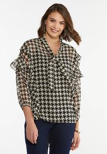 Plus Size Ruffled Houndstooth Top