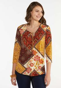 Plus Size Patchwork Medallion Poet Top