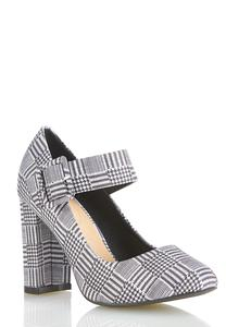 Wide Width Black White Mary Jane Pumps