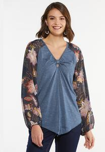 Plus Size Sheer Floral Sleeve Top