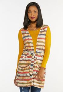 Plus Size Autumn Stripe Cardigan