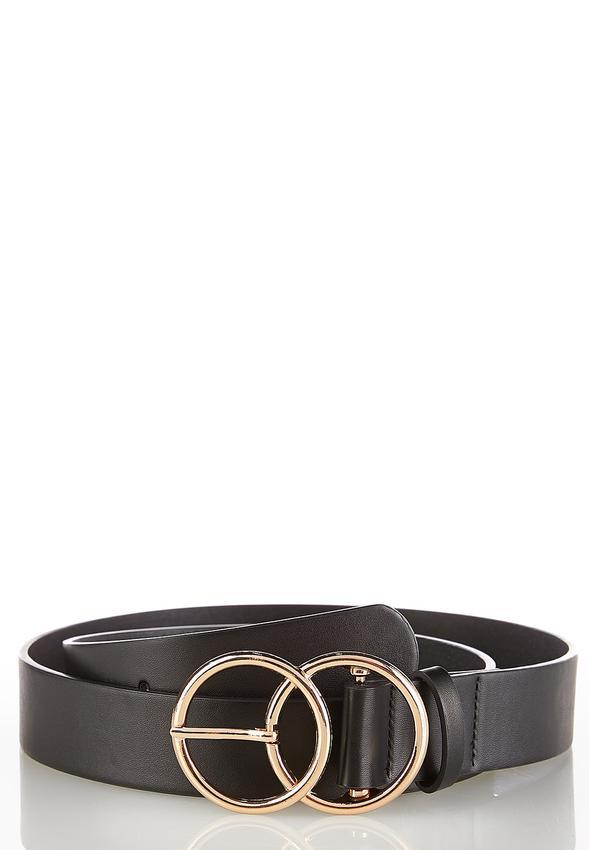 Plus Size Double Ring Black Belt