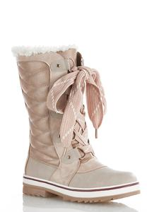Metallic Trim Fur Cuff Boots