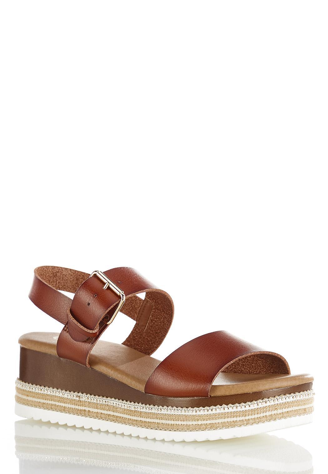 Cognac Flatform Wedge Sandals