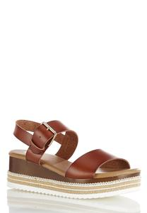 Cognac Flatform Wedge Sandals