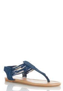 Denim Elastic Band Thong Sandals