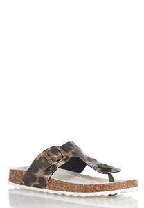 Leopard Thong Footbed Sandals