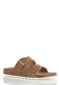 Double Buckle Footbed Sandals