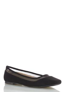 Mesh Trim Square Toe Flats