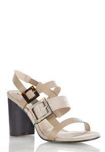 Tortoise Buckle Heeled Sandals