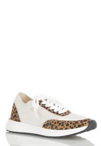 Leopard Trim White Sneakers