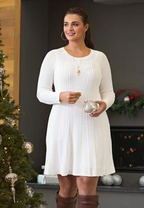 Plus Size Ivory Knit Sweater Dress