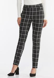 Plaid Faux Leather Trim Pants
