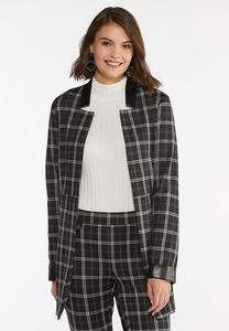 Plaid Faux Leather Trim Jacket