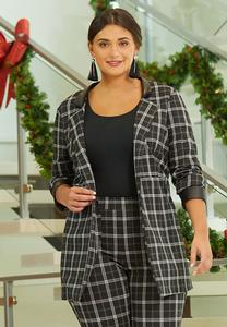 Plus Size Plaid Faux Leather Trim Jacket