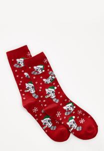 Holiday Raccoon Socks