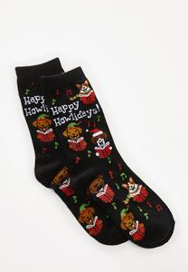 Christmas Caroling Dog Socks