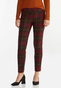 Wine Plaid Bengaline Pants