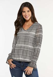Plus Size Mesh Houndstooth Top