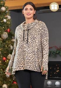 Plus Size Leopard Cowl Neck Tunic
