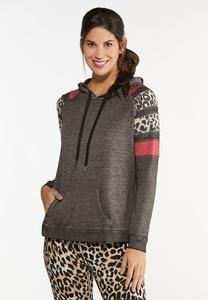 Leopard Stripe Hooded Top