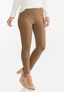 Plaid Faux Suede Leggings