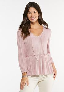 Plus Size Pink Peplum Top