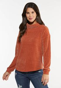 Plus Size Chenille Turtleneck Top