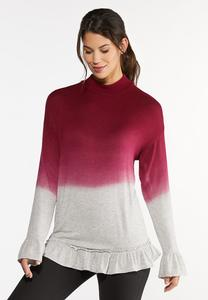 Plus Size Ruffled Ombre Hacci Top