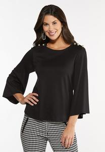 Plus Size Pearl Embellished Top