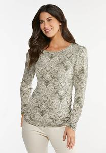 Plus Size Paisley Puff Sleeve Top