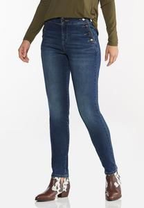 High-Rise Button Skinny Jeans