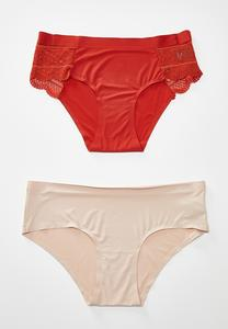 Plus Size Rust And Nude Hipster Panty Set
