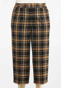 Plus Size Cropped Plaid Pants