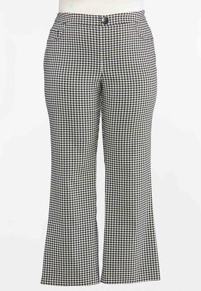 Plus Size Houndstooth Flare Pants