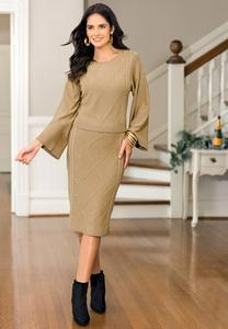 Plus Size Caramel Cable Knit Skirt