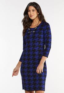 Blue Houndstooth Sweater Dress