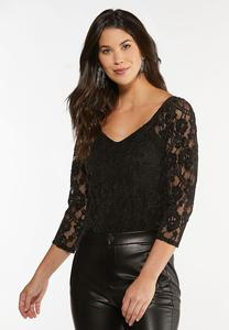 Plus Size Velvet Lace Bodysuit