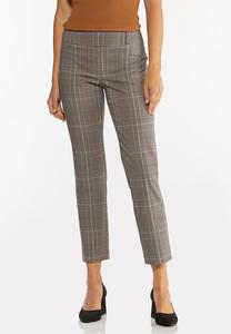 Slim Leg Plaid Pull-On Pants
